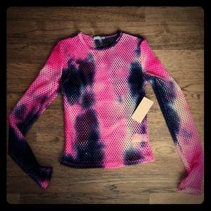 3/$25 NWT Pink and Black Mesh Shirt